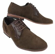 Mens Black Brown Laced Smart Formal Casual Shoes Faux Suede & Leather Lined