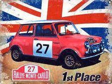 Mini Rallye Monte-Carlo Classic Car Racing Union Jack Medium Metal/Tin Sign