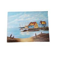 "Nautical Boat Harbor Impressionist Oil Painting Original Signed 18""x24"" Sailboat"