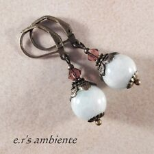 Ohrringe mit AQUAMARIN-Perlen, Bronze-Vintage-Look, Ohrhänger, 0745
