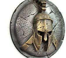 Spartan ancient greek helmet and shield sculpture wall art home decor gift