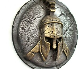 Spartan ancient greek helmet and shield sculpture wall art home decor gift