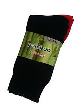 3 PRS MENS SZ 6-11 BLACK/RED EXTRA THICK HEAVY DUTY BAMBOO WORK SOX