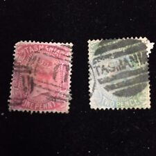 1870 Tasmania Postage Stamps Used Lot of Two