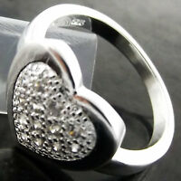 RING GENUINE REAL 925 STERLING SILVER S/F DIAMOND SIMULATED HEART DESIGN US 7