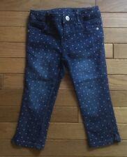 Gymboree Girls Cropped Capri Polka Dot Jeans, Size 4, Adjustable Waist, Blue EUC