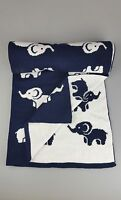 New Baby NAVY WHITE Knitted ELEPHANT Pram Pushchair Blanket. SUPER SOFT MADE-UK