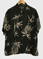 Tori Richards Mens Medium Shirt Aloha Hawaiian Black & Tan Silk-Blend Free Ship