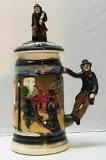 Firefighter Stein Fire Truck Horses Rescue Child Man Handle Marked 1428 Vintage