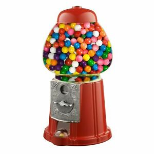 """15"""" Candy Gumball Machine Bank Old Fashioned Metal Glass Ball Bubblegum"""