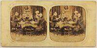 Francia Giocatori Da Carte Foto c1860 Diorama Stereo Vintage Albumina