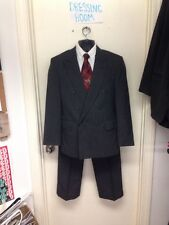 Custom Made 2 Piece Suit Vintage Size 38S Gray Wool Double Breasted
