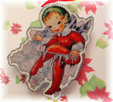 Glittered Wooden Christmas Ornament~Jack Frost~Elf ~ Vintage Card Image`