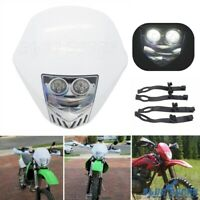 White Dirt Bike LED Headlight Lamp Fairing Enduro for Honda CR125M Yamaha WR 450