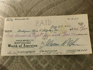 CARROLL SHELBY ENTERPRISES SHELBY AMERICAN CHECK TO GOODYEAR PROTOTYPE CHECK