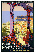 MONACO MONTE-CARLO Vintage French Travel Poster CANVAS PRINT 24x36 in.