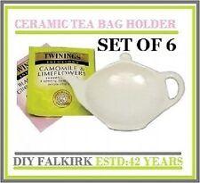 6 Tea Bag tidy Rest Spoon holder White Ceramic Kitchen Home Tea coffee Cooking