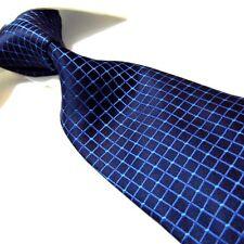 "Extra Long Polyester Tie,Microfibre Navy Blue Check XL Men's Necktie PL319 63"""