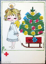 Folding postcard MERRY CHRISTMAS HAPPY NEW YEAR Angel with X-mas tree sledge