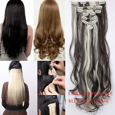 100% Natural Thick Clip in Hair Extensions 8 Pieces Full Head Long As Human Hair