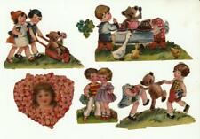 Vintage Victorian diecut scrap embossed tole painting for children furniture lot