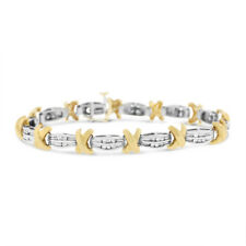1.00 Ct. Natural Diamonds X Design Bracelet Solid 14k Two-Tone Gold