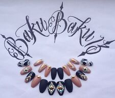 Hand Painted False Nails Black,Nude & Gold Coffin Square Full Cover Tips