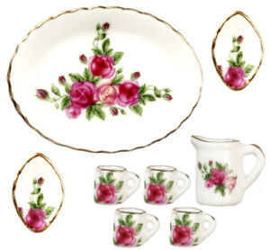 Dolls House Miniature 1:12th Scale Pretty Red Rose Mug Set