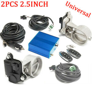"""2 SETS 2.5"""" INCH 63mm Vacuum Exhaust Cutout Electric Control Valve Kit With Pump"""