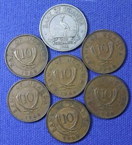 1966 & 1968 coins from Uganda, Africa....7 total coins