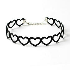 Black Velvet Hollow Heart Choker Collar Necklace Pendant Gothic Punk Jewelry New