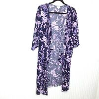 LuLaRoe Womens Shirley Navy Blue Purple Floral Print Size Large L Kimono