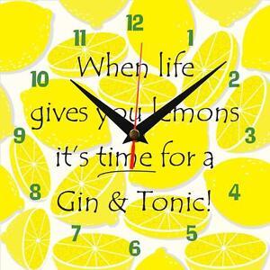 "Handmade ""When life gives you lemons, Gin!"" novelty fun gift present wall clock"