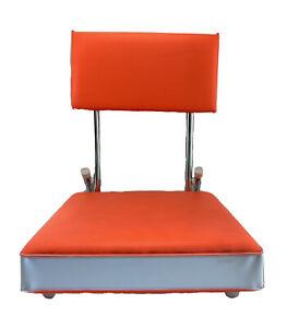 Markwort Tote Fold Up Padded Cushion Bleacher Stadium Seat Chair Orange White
