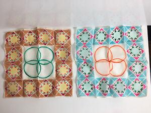 Two Vintage Silk Geometric MCM Hand Rolled Handkerchief Hanky's