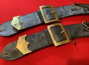 Genuine Military British Army Brown Leather Cross Belts Only New Job Lot Qty 2