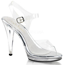 """4.5"""" Clear Bikini Contest Heels Fitness Pageant Competition Shoes Pleaser 7 8 9"""
