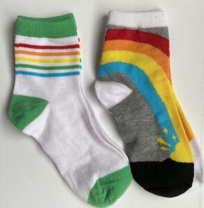 2 Pair Rainbow Striped Ankle Socks Size 9-11
