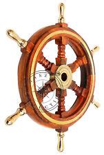 "18"" Nautical Wooden Ship Steering Wheel Pirate Decor Brass Fishing Wall Boat"