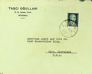 TURKEY 1938 PRE WWII 12½k ON COVER ISTANBUL TO AMERICAN STEEL & WIRE CO USA
