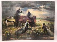 Dramatic and Sweeping Oil Painting - Rural Crop-Hauling Scene - Impressionist