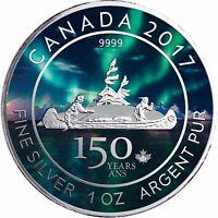 Kanada 5 Dollars 2017 Kanu 150 Jahre Canada Voyageur Silber Anlagemünze in Farbe
