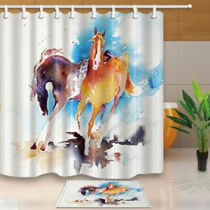 Animal Decor Watercolor Running Horses Against Blue Backdrop Shower Curtains