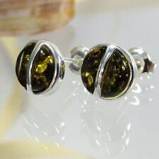 A176 Ohrringe Earrings Bernstein Amber Ambra 925 Silber Schmuck Grün
