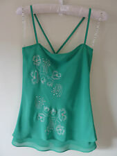 Wish Green Cami Top with Diamantes -  Size 8 - Pre-owned Great Condition