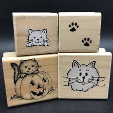 Lot of 4 Cat Kitten Kitty Theme Mounted Rubber Stamps, Hero Arts (RF607-164)