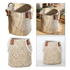 2x Grass Woven Storage Basket Straw Folding Basket with w/ Handle L/S White
