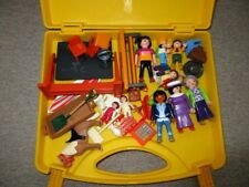 Playmobil-Yellow Case-School- Chalk Board-Desks-Family Figures--Lot T4