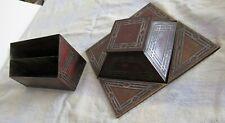 STUNNING Arts & Crafts Copper Silver Inkwell Letter Holder Blotter Desk Set