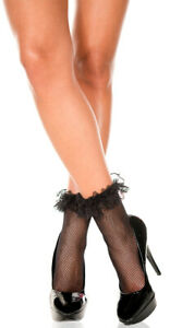 sexy MUSIC LEGS lace RUFFLE fishnet ANKLE highs SOCKS dressy ANKLETS stockings